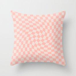 Check VII - Pink Twist — Checkerboard Print Throw Pillow