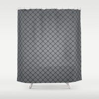 gray pattern Shower Curtains featuring Gray Plastic Chip Pattern by Robin Curtiss