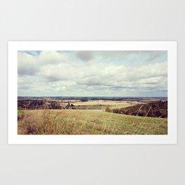 Rural hilly landscape. Art Print