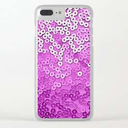 Fun Purple Sequins Clear iPhone Case