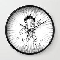 hentai Wall Clocks featuring KWeb #6 : Hentai Kamen (black & white) by Adrien ADN Noterdaem