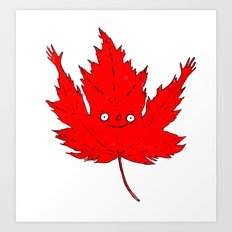 Happy Canada! Enthusiastic Maple Leaf. Art Print
