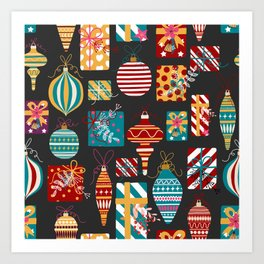 Christmas Ornaments and Presents Pattern Art Print