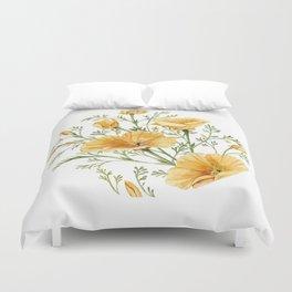 California Poppies - Watercolor Painting Duvet Cover