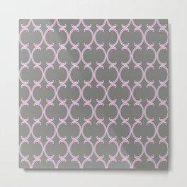 Pink Moroccan Lattice on Gray Metal Print