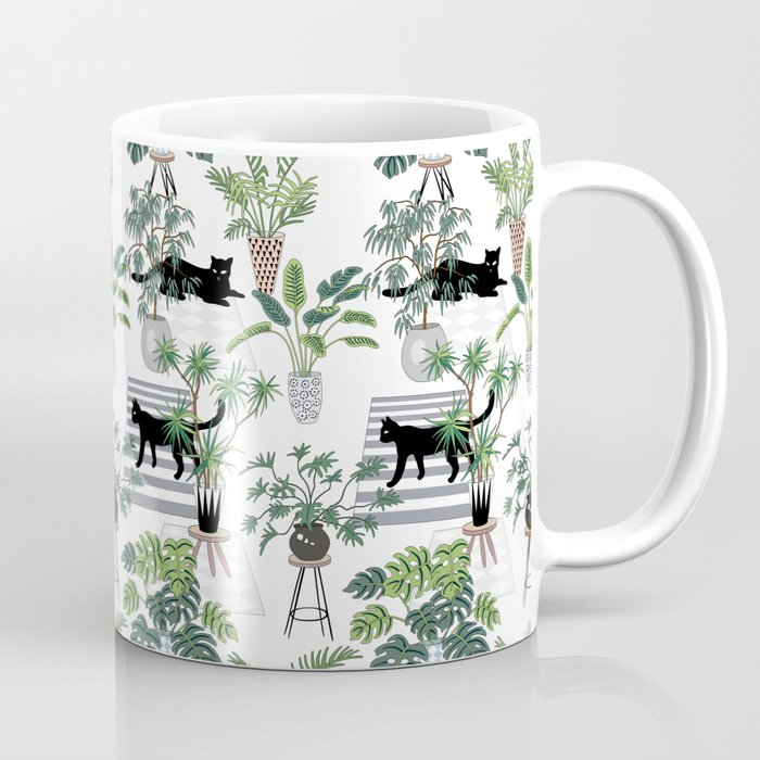 cats in the interior pattern Kaffeebecher