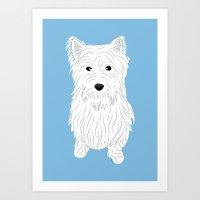 westie Art Prints featuring Westie by Julie Gough