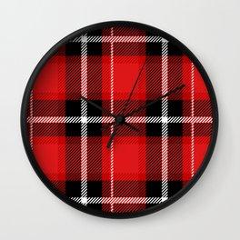 Red + Black Plaid Wall Clock