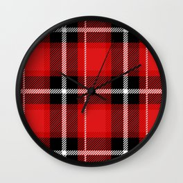 Red + Black Plaid Wall Clock