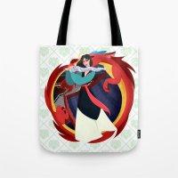mulan Tote Bags featuring Mulan by Karrashi