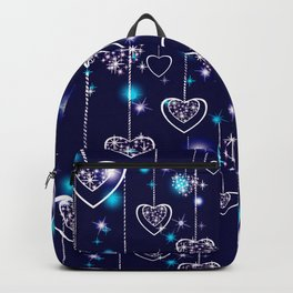 Openwork hearts on bright blue background. Backpack