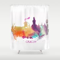 poland Shower Curtains featuring Cracow Poland skyline by jbjart