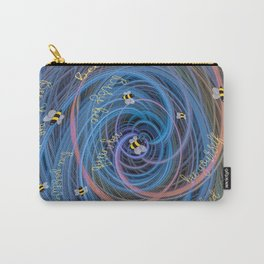 Bees Swarm Vortex Typography by OLena Art Carry-All Pouch