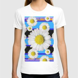 Blue Shasta Daisy's Black Color Art T-shirt