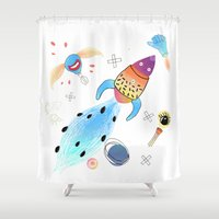 rocket Shower Curtains featuring Rocket by Dorrith Rem