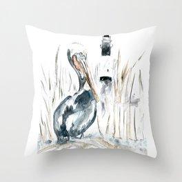 Tybee Island Pelican Throw Pillow