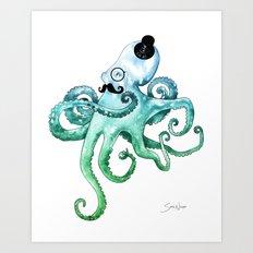 Monocle Octopus Art Print