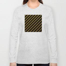 Art Deco: Gold Glitter Diagonal Lines on Black Long Sleeve T-shirt