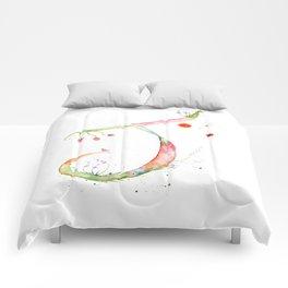 Letter J watercolor - Watercolor Monogram - Watercolor typography - Floral lettering Comforters