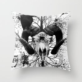 Wings and Horns of Death Throw Pillow