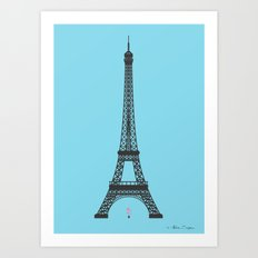 Eiffel Tower - First Kiss Art Print