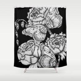 Black Fluttering Ink II Shower Curtain