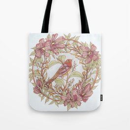 Magnolia And Marigold Wreath With Songbird Tote Bag