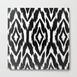 Black And White Ikat Nordic Scandinavian Pattern Metal Print