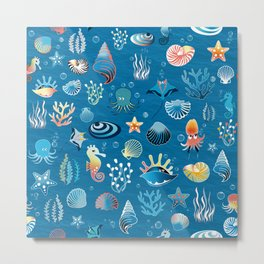 playful sea life pattern Metal Print