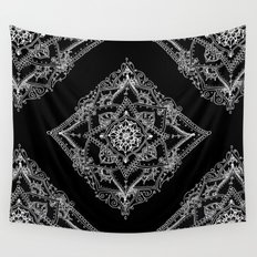 Mandala Doodle Pattern in Black & White Wall Tapestry