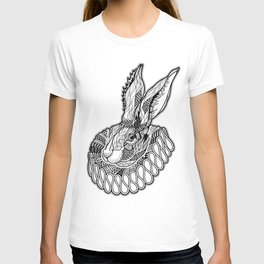 RABBIT / HARE in a jabot. psychedelic / zentangle style T-shirt