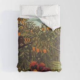 Apes in the Orange Grove by Henri Rousseau 1910 // Colorful Jungle Animal Landscape Scene Comforters