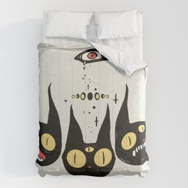 Three Strange Cat Heads. Gothic Dark Art Comforters