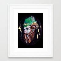 cincinnati Framed Art Prints featuring Cincinnati Beard by Sarah Lalley
