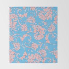 Vintage chic blue coral pink floral damask Throw Blanket