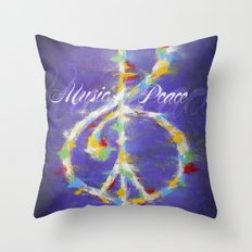 Music & Peace Throw Pillow