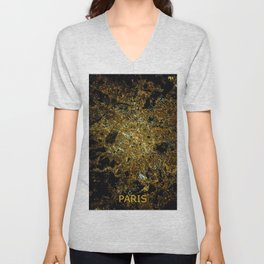 Paris France - Abstract Night City Map Unisex V-Neck