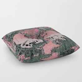 Two Sisters I: Peacock & Melon Floor Pillow