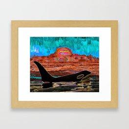 Orca Sunset Framed Art Print