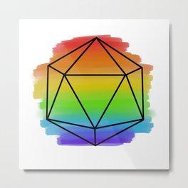 Painted Rainbow D20 Metal Print