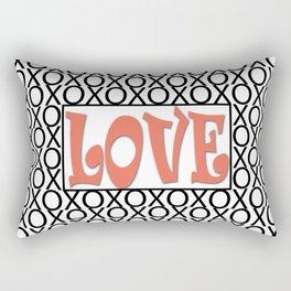 Pantone Living Coral LOVE XOs (Hugs and Kisses) Typography Art Rectangular Pillow