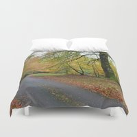 scotland Duvet Covers featuring Scotland Backroad by Kristie Anderson