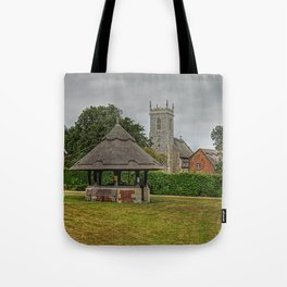 Woodbastwick village green and church Tote Bag