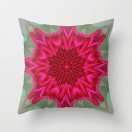 Fluid Nature - Pink Rose Mandala - Kaleidoscope Design Throw Pillow
