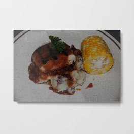 Barbecue Chicken and Corn Metal Print