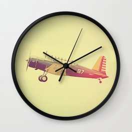 Retro Antique Fighter Plane // Airplanes Wall Clock