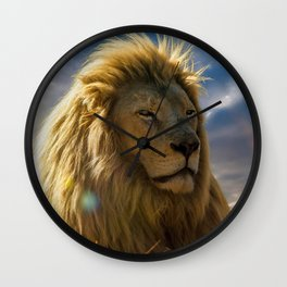 Majestic Magnificent Noble Male African Lion In High Grass Close Up Ultra HD Wall Clock