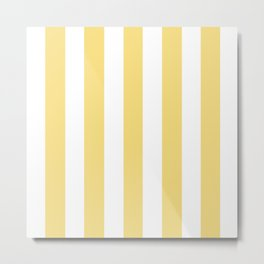 Jasmine yellow - solid color - white vertical lines pattern Metal Print