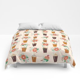 Coffee floral bouquet coffee lovers java bean cute pattern print for kitchen Comforters