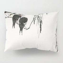 Wantanabe Seitei - Perched magpies Pillow Sham